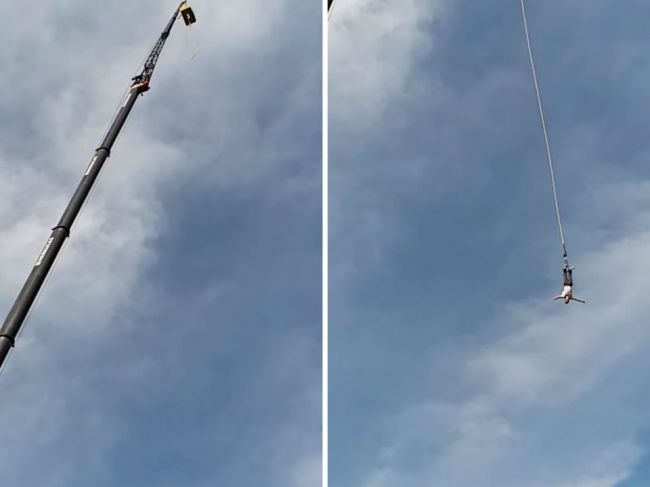 Video: Poliakovi sa počas bungee jumpingu odtrhlo lano